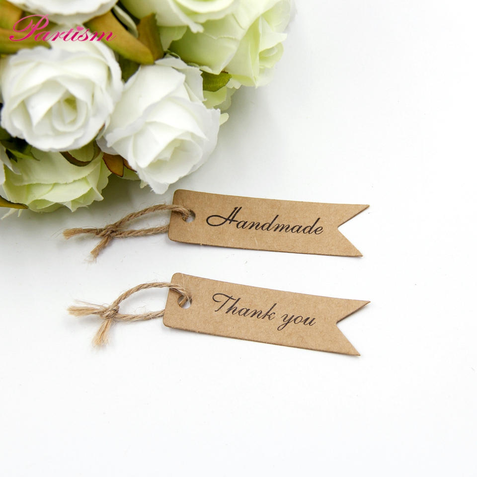 100PCS Handmade/Thank You DIY Kraft Paper Tag Dovetail shapes Label ...