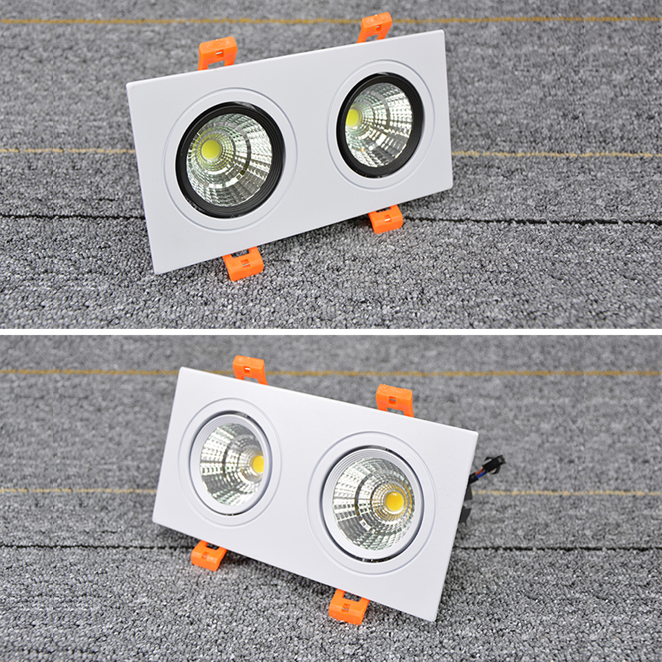 Modern Double LED Square Downlight COB 6W 10W 14W 20W LED Ceiling Spot light decoration Ceiling Light AC80 240V Bright Recessed|LED Downlights| |  - title=