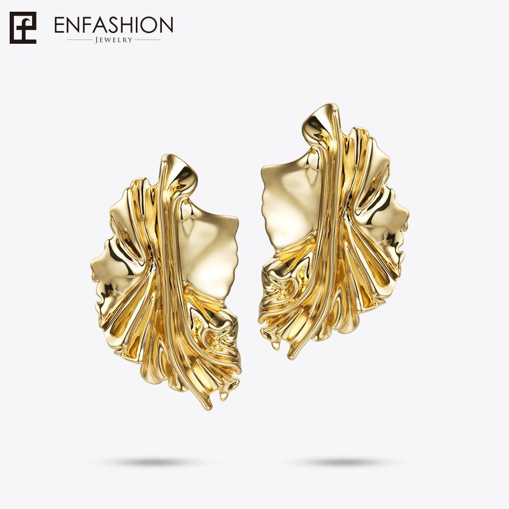 Enfashion Gold Leaves Earrings for Women Gold Color Leaf Drop Earrings Oorbellen Voor Vrouwen Earings Fashion Jewelry EC181044 metal leaf layered drop earrings