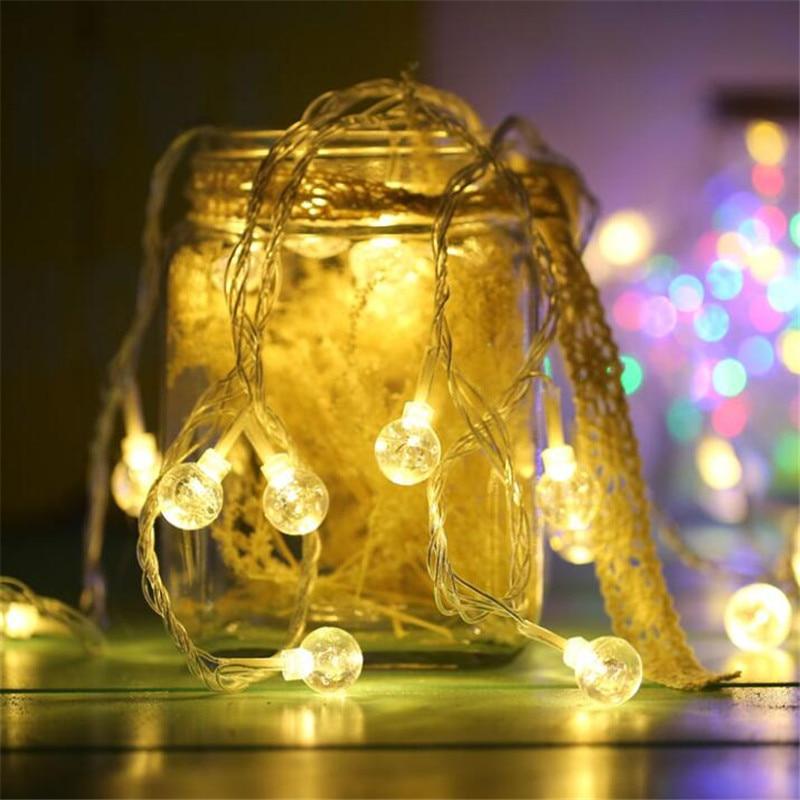 5 färger 7.5M 50 LED String Light AA Batteri Vattentät Crystal Balls Bubbla Jul Bröllop Dekoration Luminary Twinkle Strip