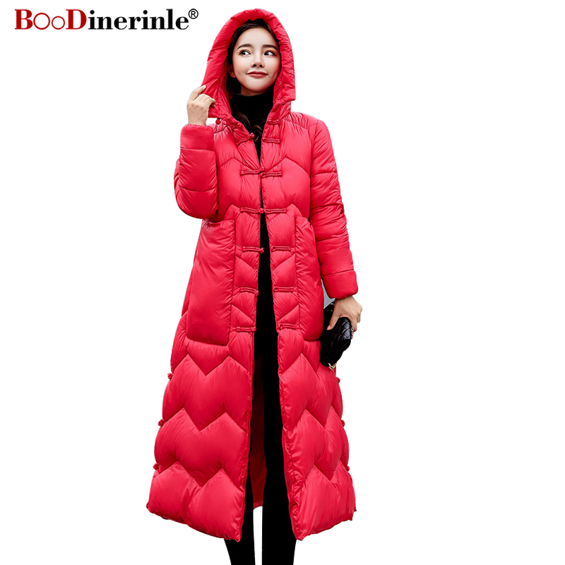 BOoDinerinle Jackets for Women Winter 2018 Chinese Style Slim Warm Down Cotton Coat Female Casual Red Hooded Long Overcoat MY283