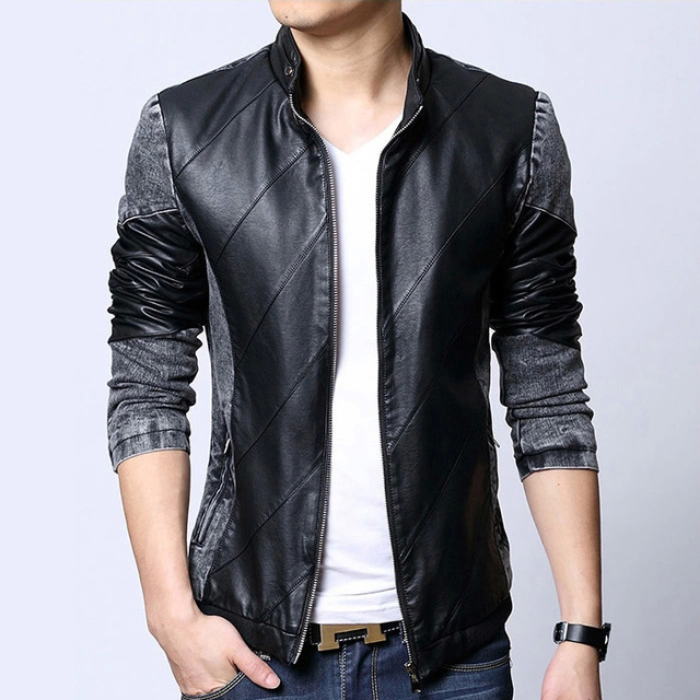 Men's clothing spring male stand collar short design leather clothing outerwear male PU slim leather jacket