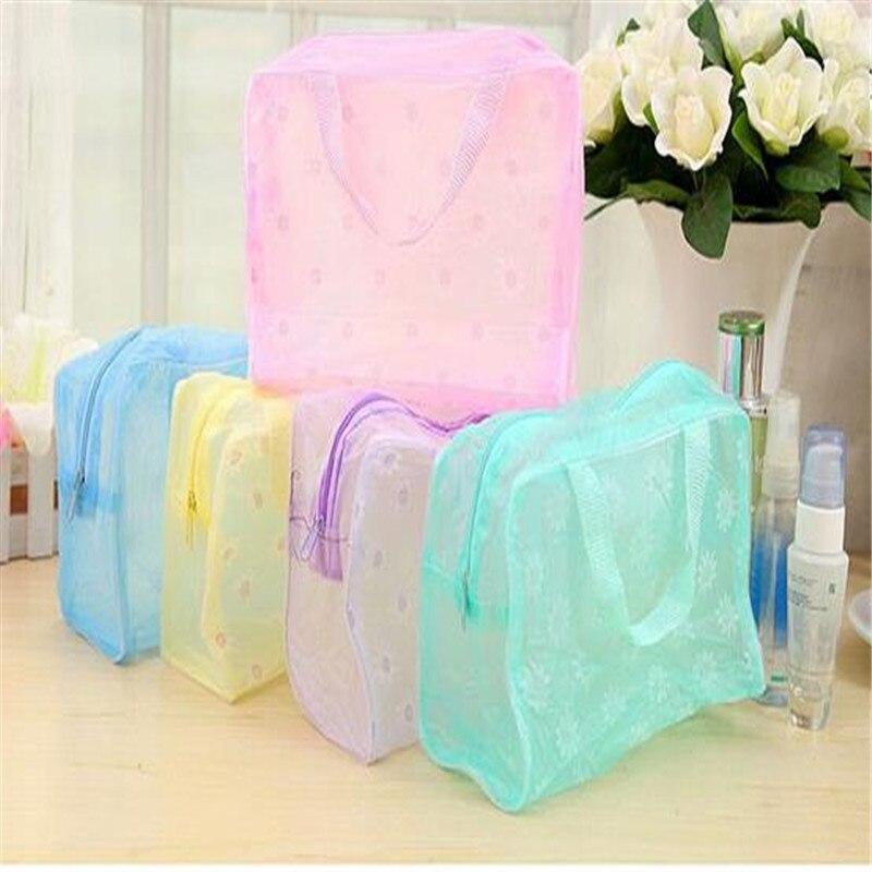 1 PC Women Floral Transparent Waterproof Zipper Comestic Travel Toiletry Wash Bag handbag Girl Makeup Case Holder ACB581