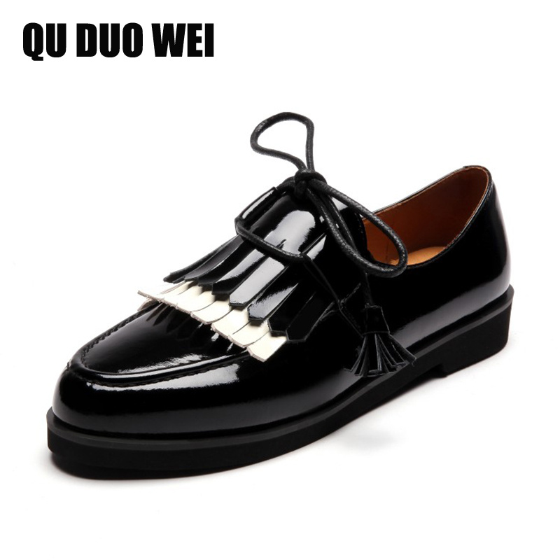 2018 New Brand Spring Autumn Luxury Women Patent Leather Flats Shoes Woman Loafers Fashion Tassel Casual Ladies Flat Shoes hxrzyz large size women black flat shoes female patent leather loafers spring autumn new fashion pointed toe buckle casual shoes