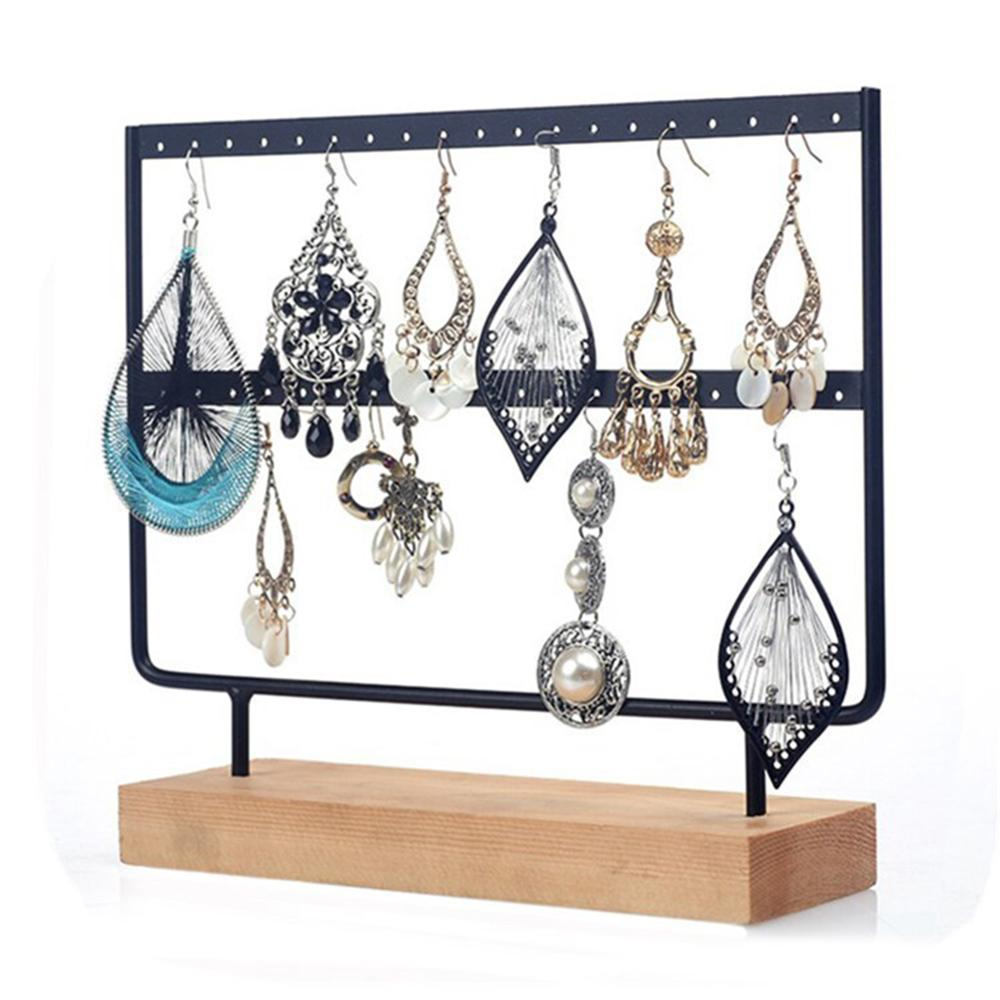 Creative 24/44 Holes Wood Earrings Organizer Jewelry Holder Necklace Bracelet Rack Jewelry Display Stand Jewelry Packing