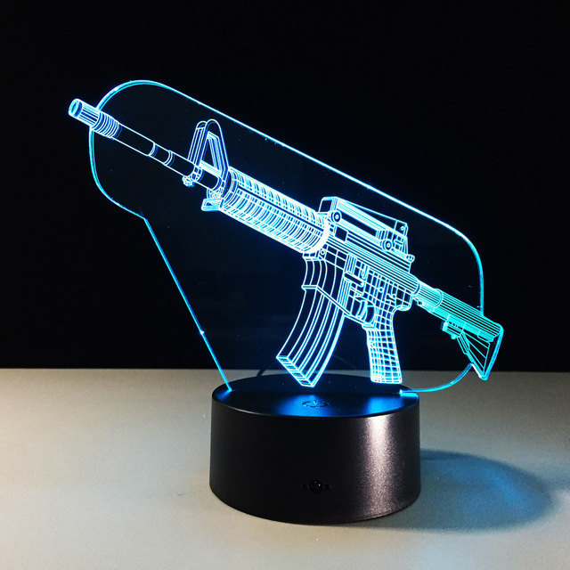 Novelty 3d M4a1 Carbine Gun Shape Illusion Night Light