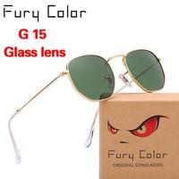 G15 Tempered Glass Lens Hexagonal Metal Sunglasses Men Womne Designer Brand Luxury Oculos De Sol Gafas