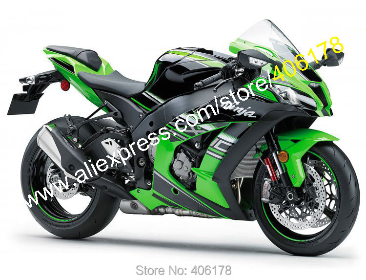 Hot Sales,For Kawasaki Ninja ZX 10R 2016 2017 ZX10R 16 17 ZX-10R Green Black Bodywork Sportbike Fairing Kit (Injection molding) p vip 240 0 8 e20 9n 725 10325 331 6242 469 2140 fkrpw original projector bare lamp for dell 1420x