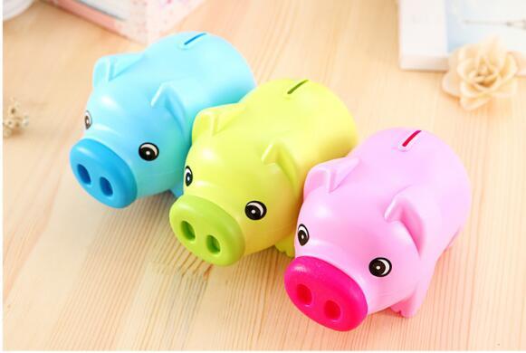 1PC Cute Plastic Piggy Bank Pig Cash Coin Money Saving Box Children Toy Kids gift kids money boxes Moneybox ELF 065