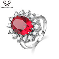 DOUBLE R Princess Diana William 7.02ct Created Ruby Gemstone Engagement 925 Sterling Silver Rings Embroidery