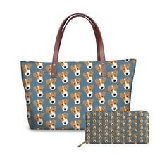 NOISYDESIGNS Jack Russell Terrier Printed Handbags&Purse Women Fashion Hand Bag Ladies Top-Handle Bags Female 2pcs/set Beach