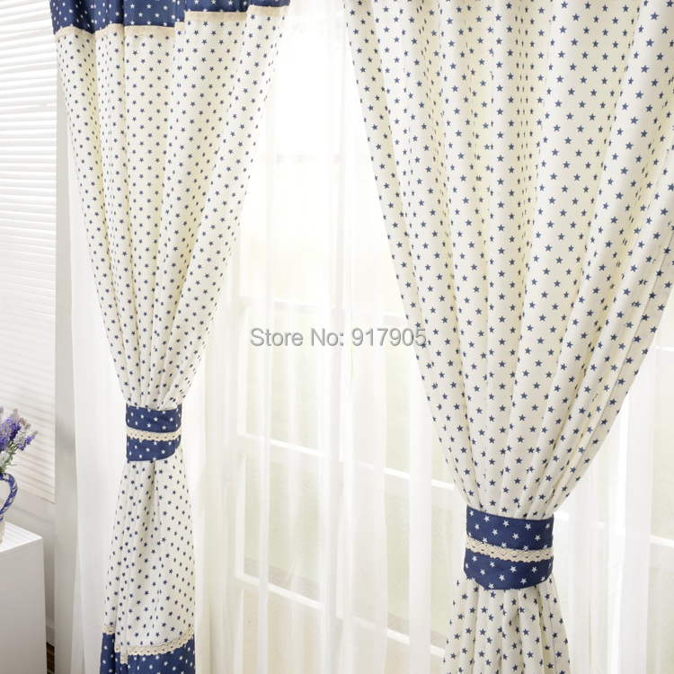 Online Shop Elegant Korean Home Goods Curtains Fashion Home Decoration  Designer Stars Print Bedroom Curtains Blue And White Curtains Aliexpress  Mobile.