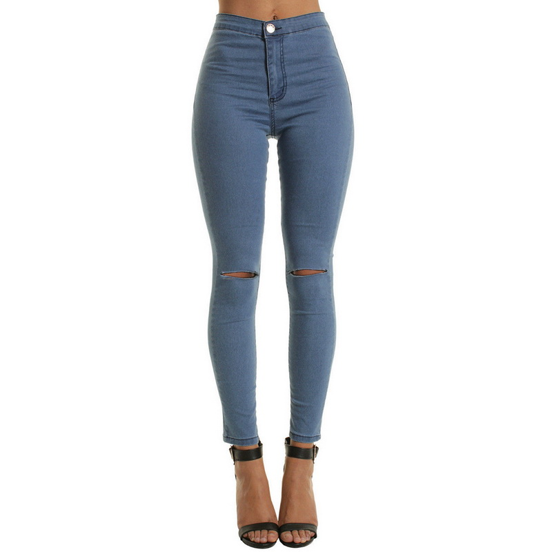 LASPERAL Women Causal High Waist Jeans Woman Sexy Ripped Hole Denim Pencil Pants Vintage Solid Stretch Workout Skinny Mom Jeans