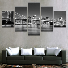 Canvas HD Prints Pictures Framework 5 Pieces Black White Brooklyn Bridge City Night View Paintings Home Wall Art Decor Posters