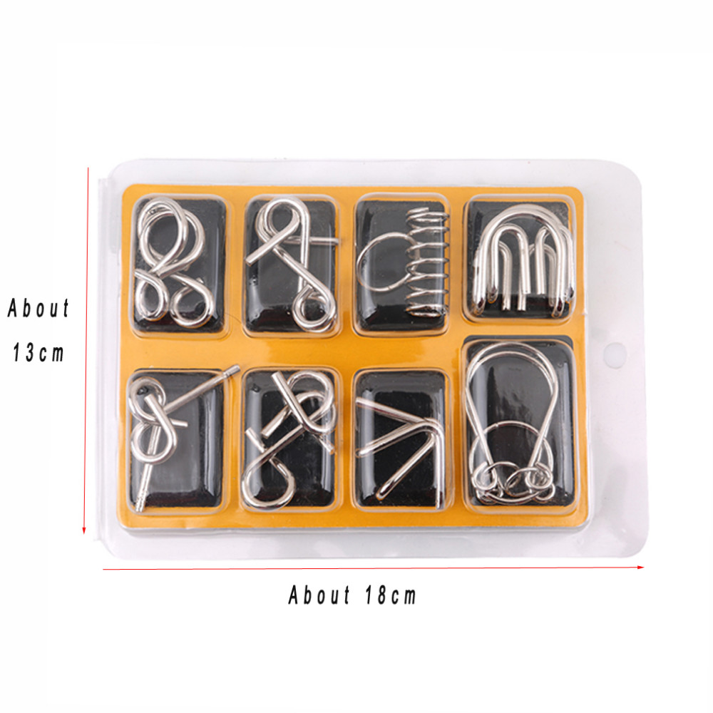 New 8PCS/Set Educational Metal Wire Puzzle IQ Mind Brain Teaser Puzzles Game For Adults Children Kids Game Classic Toy