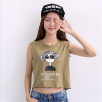 New Women Tank Tops Letters Print Cute Crop Tops Lady Tees Summer Style Casual T