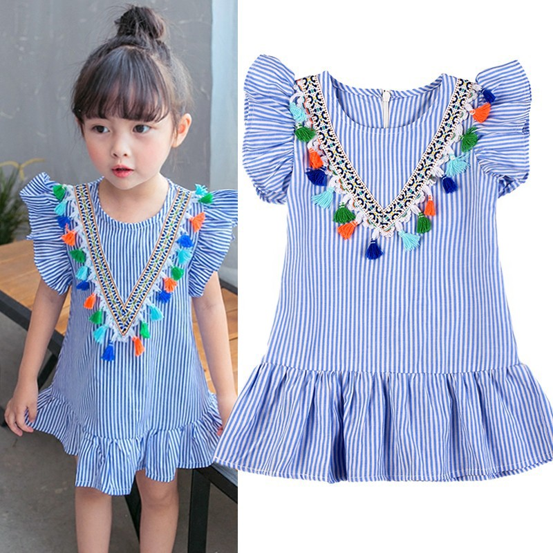 цена Girl tassel dress clothing Hurave girls dress girl striped robe fille ruffles kids clothing beautiful blue vestidos
