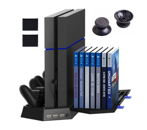 Ps4 vertical de soporte del ventilador controlador estación de carga para ps4 consola playstation 4 con cargador de cd de almacenamiento de juegos dualshock