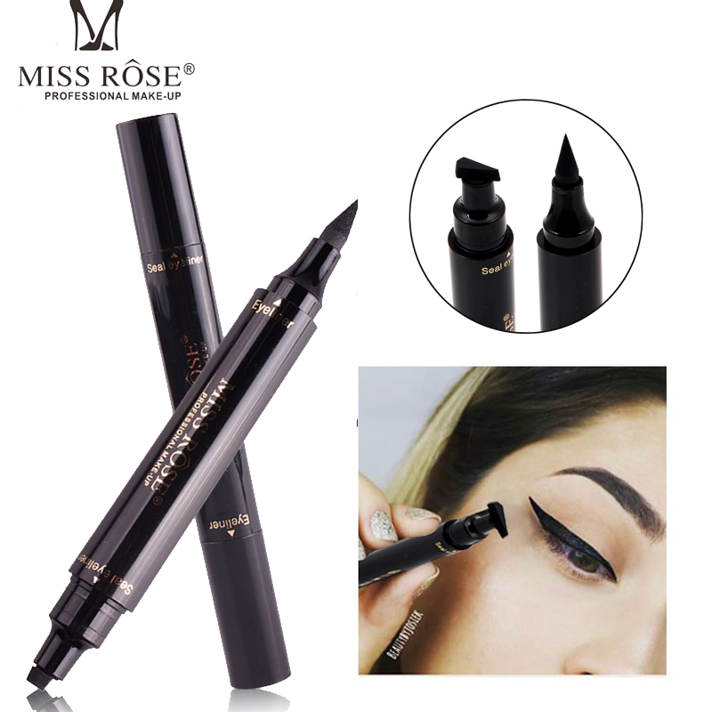 2018 Ny. Miss Rose Brand Eyeliner Liquid Makeup Pencil Vandtæt Sort Dobbeltsidet Makeup Brand Eyeliner