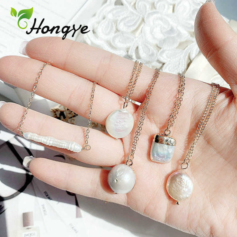 Hongye Freshwater Pearl Pendant Necklaces Real Gold 14k Link Chain Female Multi Styles Baroque Pearl Anniversary Collar Jewelry