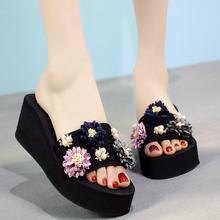 6CM/3CM High Heels Flower Women Slides Summer Outside Beach Shoes Crystal Platform Women Shoes Slippers 11cm high heels platform women flower shoes outside beach shoes open toe summer women flip f