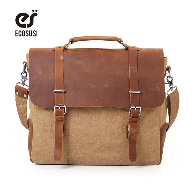 ECOSUSI Men Vintage Canvas Messenger Bag Crazy Horse Leather Briefcase Travel Bags Retro School Satchel Bag Hasp Cover Handbag men retro canvas camera bag horse leather soft travel bags retro photo camera backpack hasp cover military style for canon nikon