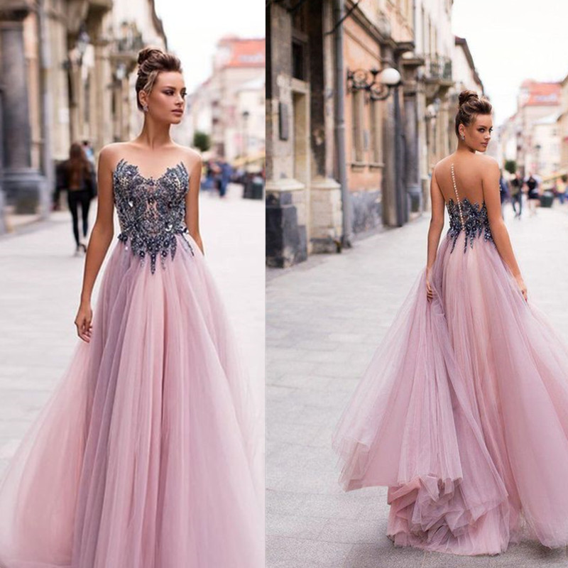 Scoop Neckline Sleeveless Lace Applique   Prom     Dress   with Heavy Beading Illusion Tulle Back Button A-line Party Evening   Dress