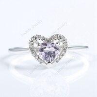 Природный аметист 5x5 мм Сердце Вырезать Твердые 10 К белого золота Обручение кольцо для Для женщин тонкой настоящие бриллианты обручальное к