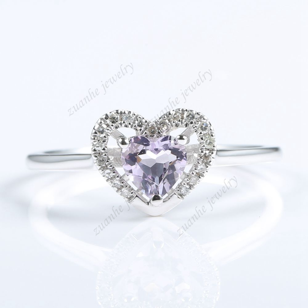Diamond Amethyst Wedding Ring Set