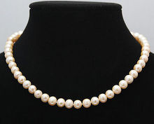 Hot selling free shipping*******AAA + Genuine Natural Science 7-8 mm pink freshwater pearl necklace 14″