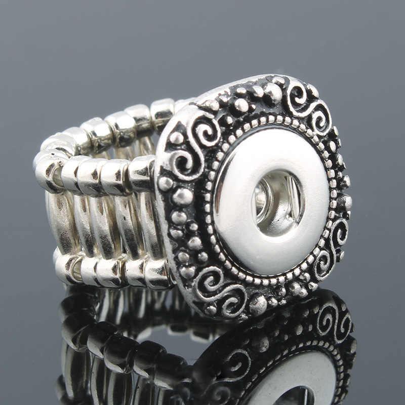 "2017 Vintage כיכר מצליפה אלסטי טבעת fit 12 מ""מ DIY כפתורי הצמד מתכת טבעת גברים של תכשיטי אופנה של נשים שעונים נשים ZH006"
