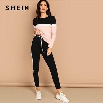 Shein athleisure color-block topo e cordão cintura lateral painel calças feminino duas peças conjunto primavera sporting casual conjuntos de duas peças