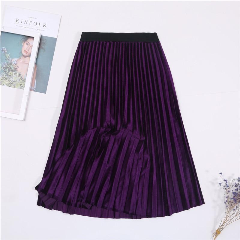 Женская винтажная осенне-зимняя бархатная юбка с высокой талией, элегантные сексуальные обтягивающие черные плиссированные юбки, женские макси юбки, женские s - Цвет: 9 Purple