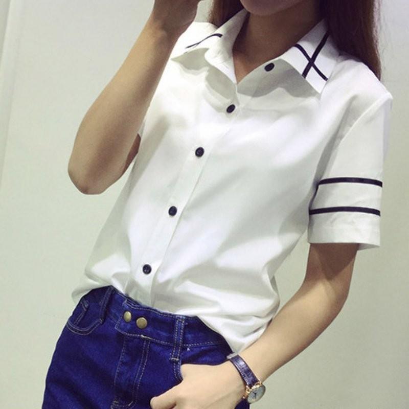 HTB1 aFDNXXXXXb1XFXXq6xXFXXXF - Fashion Ladies Office Shirt White Blue Tops Formal