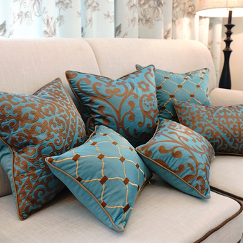 European Embroidery Sofa Cushions With Hidden zipper To easy insertion For Bed And Sofa