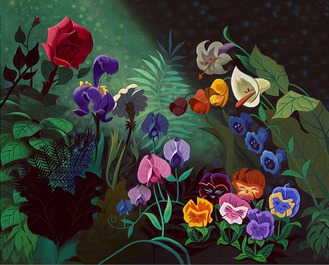 5x7FT Alice Wunderland Rose Blumen Blatt Wald