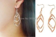 Trendy Long Leaf Dangle Drop Earrings For Women Fashion Jewelry Double Loop Eardrop Women Wave Drop Earrings Twist Earrings Gold цены онлайн