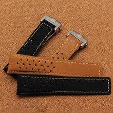 Nueva venta caliente Marca Soft Scrub correa de cuero liso con pulido hebilla desplegable 22mm 24mm accesorios reloj bandas