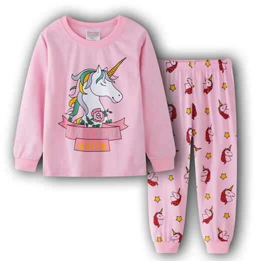New Cute Long Sleeve Tops+ Pants 2pcs Kids Pajamas Sets Cotton Boys Sleepwear Autumn Spring Girls Underwear Children Clothing(China)