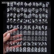 108 sztuk/arkusz Mix kwiaty projekt naklejki do paznokci biały klej metaliczny naklejka lakier żelowy uv ozdoby na tipsy Manicure J003