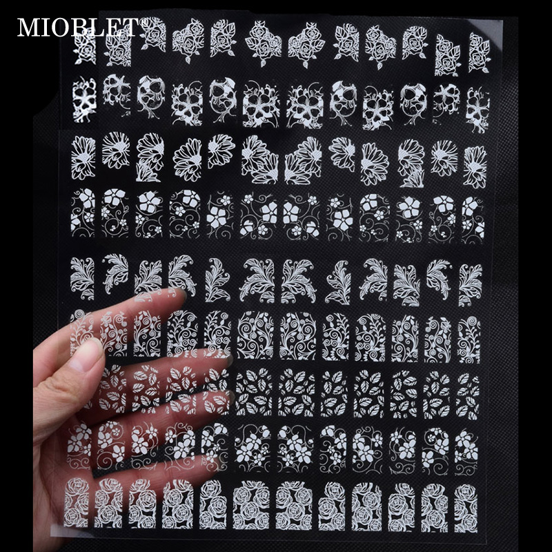108pcs/sheet Mix Flowers Design Nail Art Stickers White Adhesive Metallic Decal UV Gel Polish Nail Tips Decoration Manicure J003 new nail art stickers 50sheets flowers animals mix designed glitter full nail patch diy beauty adhesive nail decal decoration