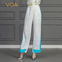 VOA тяжелый шелк прямые брюки белые длинные брюки Для Женщин Осенние школьные брюки элегантные модные середины талии одноцветное большой Ра
