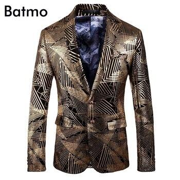 Batmo 2018 new arrival high quality velvet printed casual blazers men,men's casual suits,casual men's jacket plus-size 202