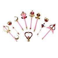 Sailor Moon Collection Cosplay CARDCAPTOR SAKURA 9pcs Key Ring Holder Keychain Gift Chaveiro Car Pendant Anime