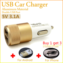 3.1A Dual USB Car Charger 2 Port Fast Charging For Samsung S6 S5 S4 S3 Note For iPhone 5s 4s 6plus for HTC Sony With USB Cable