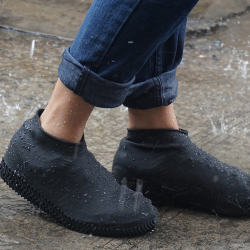 1 Pair Reusable Waterproof Non-Slip Rubber Rain Shoe Covers Elasticity Galoshes Boot Overshoes For Traveling Beach