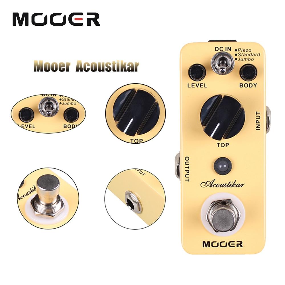 Mooer 3 Working Modes Piezo/Standard/Jumbo Acoustikar Mini Guitar Simulator Effect Pedal nux ds 3 guitar effect pedal amplifier simulator guitar parts