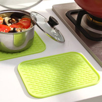 Zeegle Heat Insulation Table Mats Rectangle Pot Mat Non Slip Soft Silicone Table Pads Bowl Mat