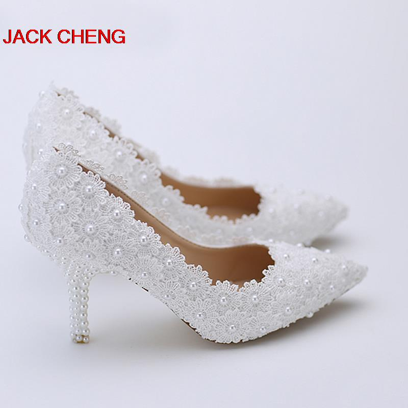 Fashion Sexy White Lace Flower with Ivory Pearl Heel Pointed Toe Wedding Shoes Women Bridal Dress Shoes Cheap Bridesmaid Shoes