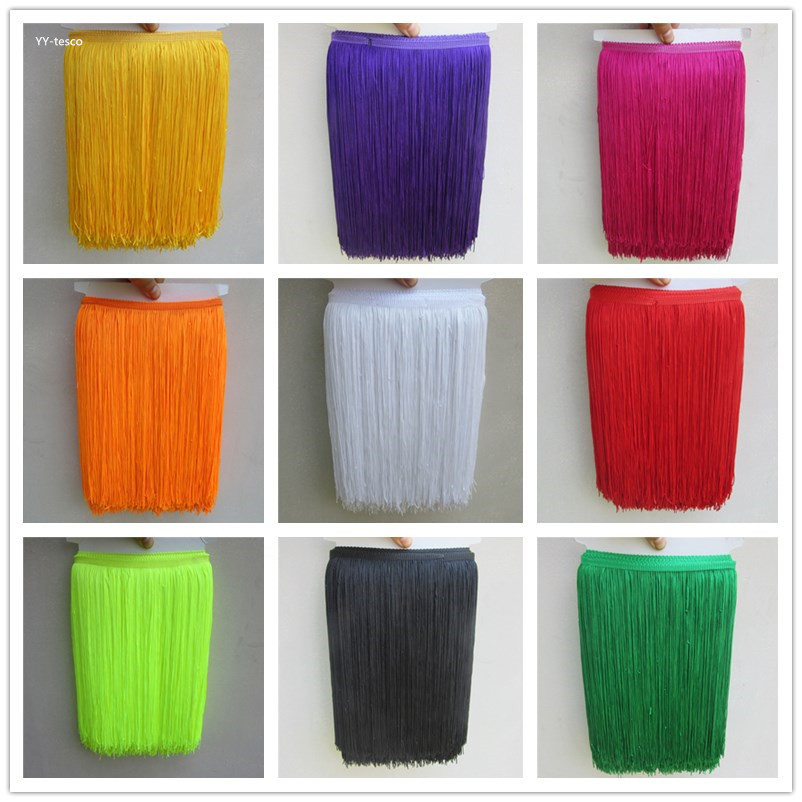 YY-tesco 10Yards 30cm Wide Lace Fringe Trim Tassel Fringe Trimming For DIY Latin Dress Stage Clothes Accessories Lace Ribbon